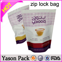 Yason hot aluminum foil 3 mil zippers plastic bags with laser header aluminum foil ziplock bags with large size/colored opaque z