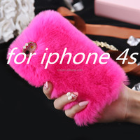 7 colors alibaba wholesale Cozy Cute Winter furry rabbit fur phone caseMultcolor Skin Case For iPhone 5 5S 6 6+ s5 s6 s6 edge s7