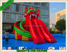 hot sale inflatable cartoon land water park playground with pool and slide for kids playing in hot weather
