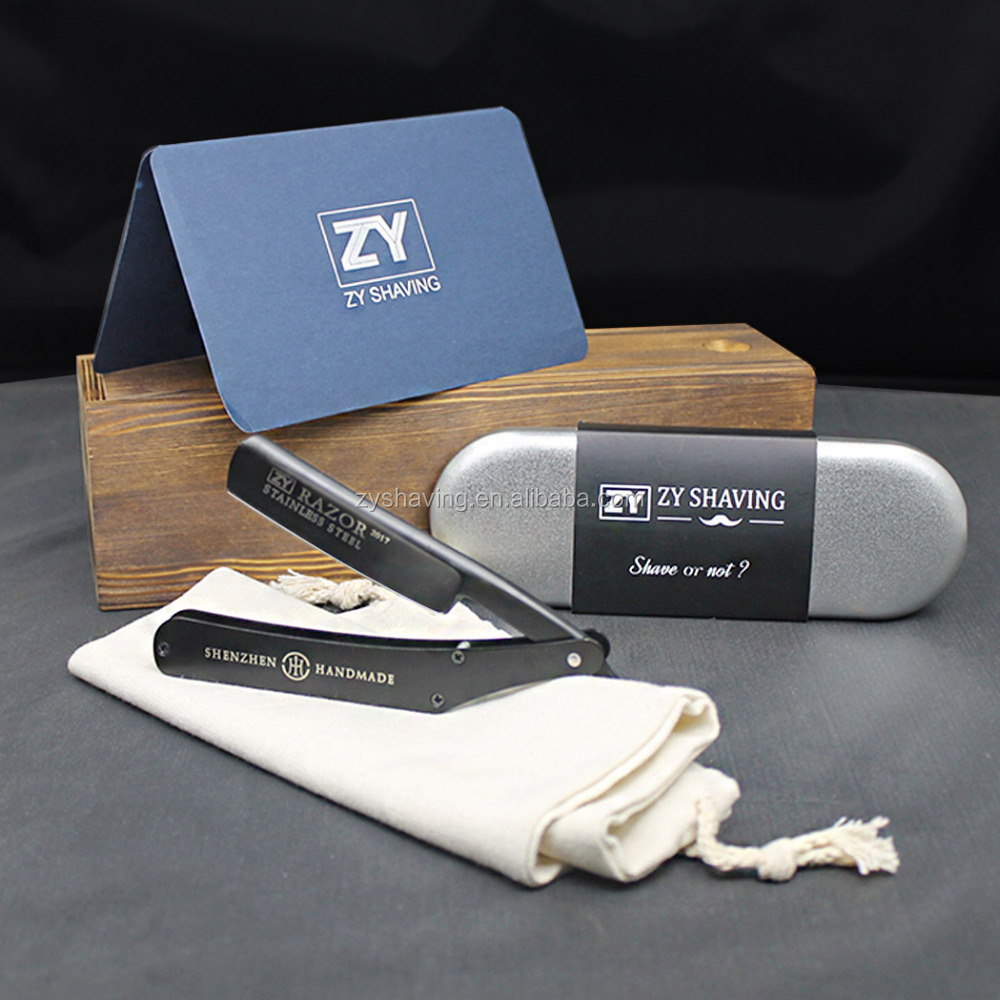 ZY Personalized Stainless Steel Foldable Single Blade Barber Straight Razor