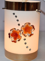 New Design Three Holes Burst resistant Straight Glass Lamp Shade With Crystal Flower For Room Decoration