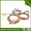 Golden metal spring sleeving Micro USB cable sam sung Sync Data Micro Usb Charger Cable For Fast Connection