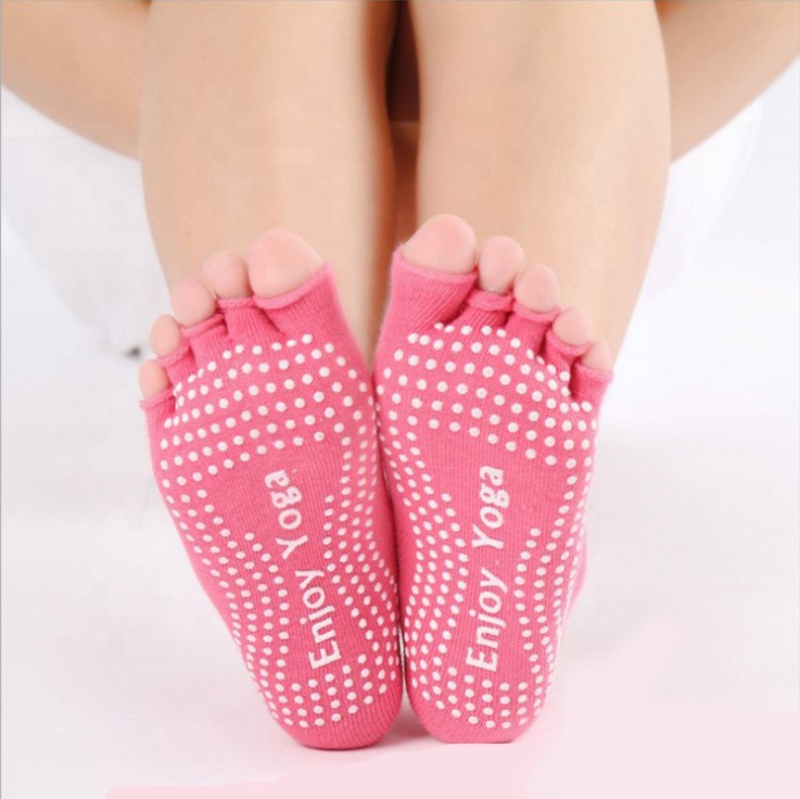 Wholesale dig-hole cotton yoga non-slip socks ladies non-slip socks open toe bareback five-finger | dance sports socks