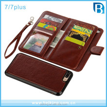 PU Leather 9 Card Slot Wallet Folio Case with Detachable Magnetic Hard Case For Iphone 7 7Plus