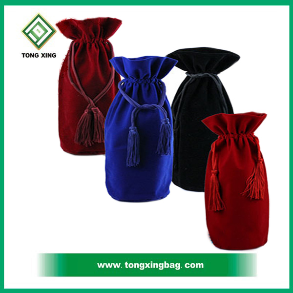 Factory Direct Selling Drawstring Pouch / wine bag / jewelry bag Velvet with Customized Logo