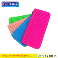 Hot New Release 100% Eco Friendly Silicone Standing Dot Silicone Zipper Pencil Bag