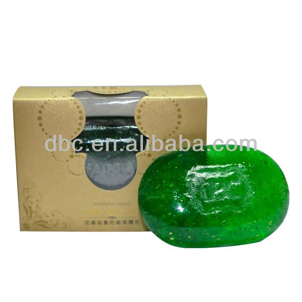 Oval Shaped Transparent Aloe Vera Hotel Soap with 24 <strong>K</strong> Gold (DZG05)