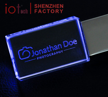 Branded Crystal Glass USB Stick with 3D Engraved Logo Inside 16GB 32GB 64GB 3.0