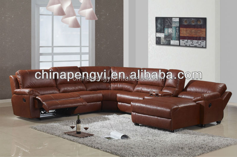 latest living room sofa leather sectional sofa with recliner