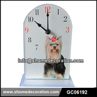 2015 New Design Cute Dog Decorative Glass Desk Table Clock