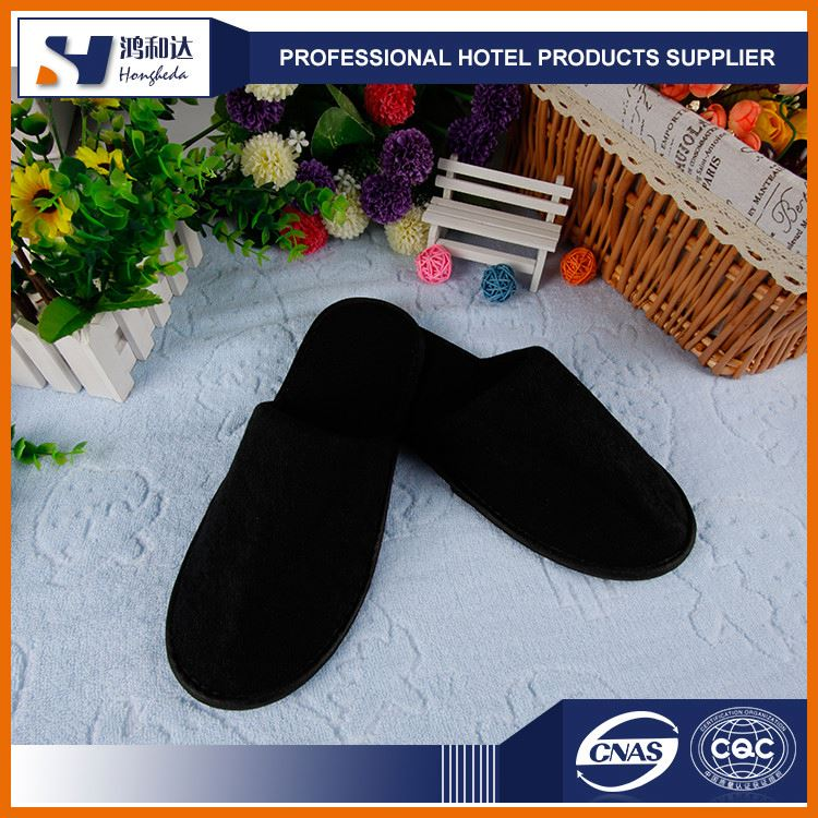 China supplier small moq terry washable towel material red guest hotel slipper