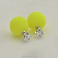Fashion zircon crystal stud earrings sweet Fluorescent yellow candy double-sided round hypoallergenic earrings