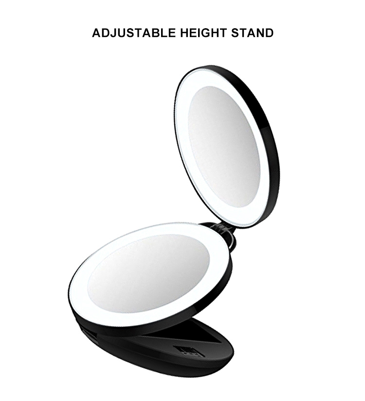 Beautiful hollywood tri-fold cosmetic mirror magnifying 10x+light up makeup mirror 10x magnification