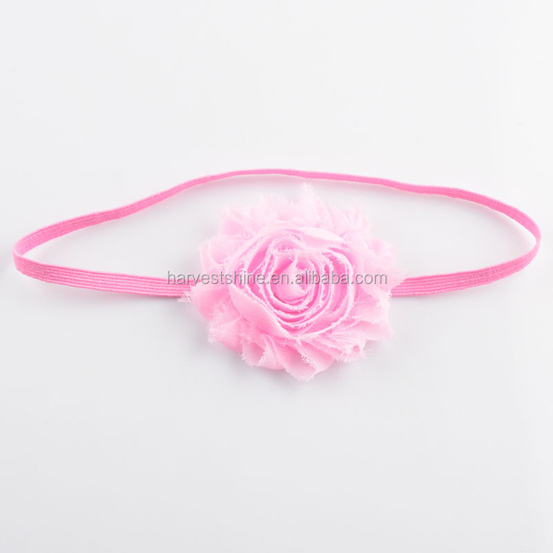 Shabby Chiffon Rosette Flower Elastic Headband,Thin Elastic Headbands With Chiffon Flower