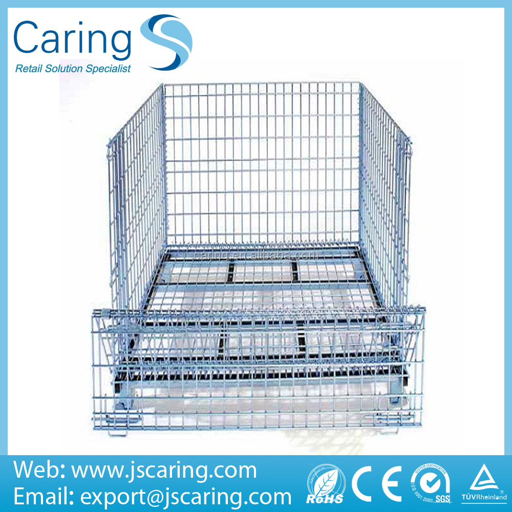 Storage folding convenience steel forklift pallet cage