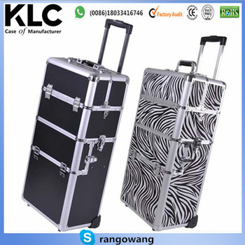 Pro Aluminum Rolling Makeup Train Case Salon Artist Cosmetic Organizer Trolley