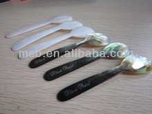 Logo engraving mother pearl shell spoon for tasting caviar