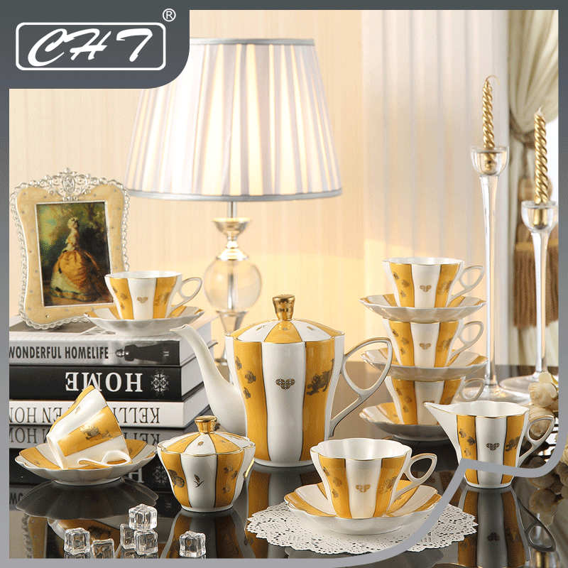 Hot Selling high-end 15pcs ceramic european tea set for coffee shop