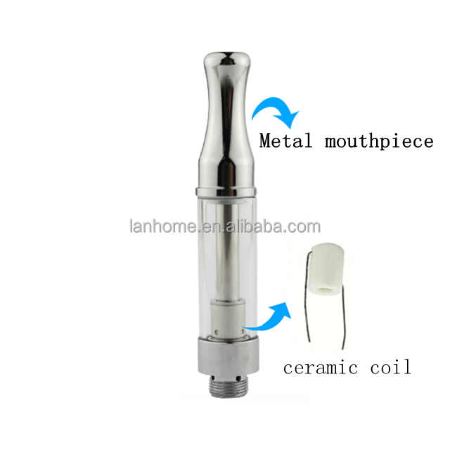 Gold Plated Metal 510 Thc A3 Atomizer Ceramic Glass Cbd Oil 1ml Pen Vape Cartridges with Pp Tube