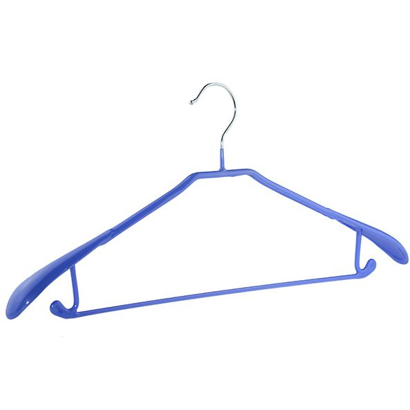 Home use single metal wire coat suit pant hanger with rubber coated