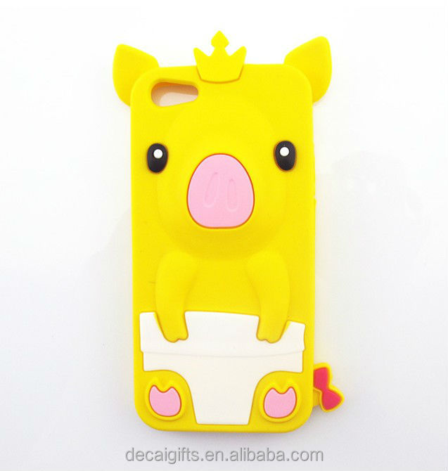 Custom silicone 3d cartoon animal phone case, waterproof phone case