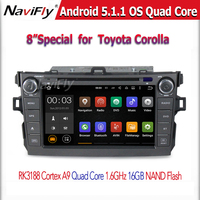 8 Inch 2 DIN Android5.1.1 Car DVD Player for Toyota Corolla 2006~2011 wih Quad Core CPU,WIFI,Bluetooth,Radio Stereo,1024*600