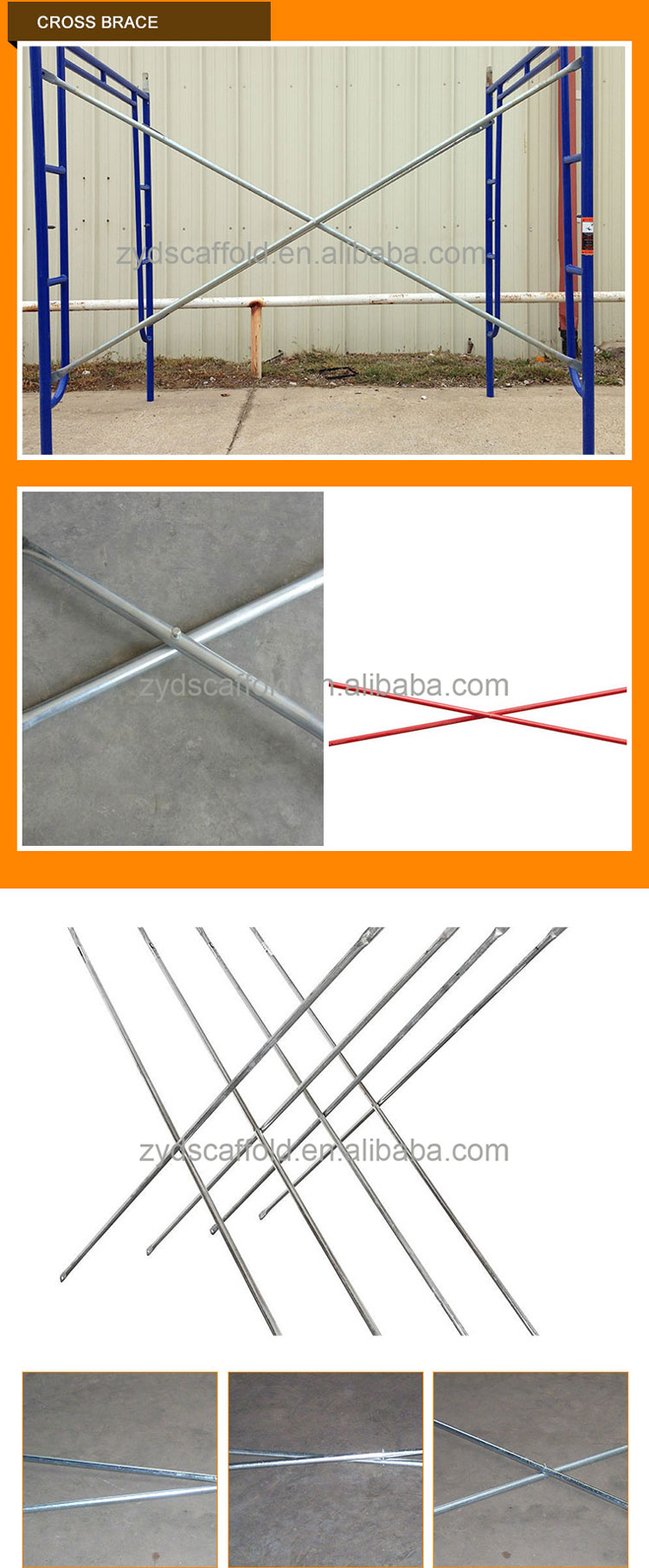Jiangyin H Frame Scaffold Parts Cross Brace