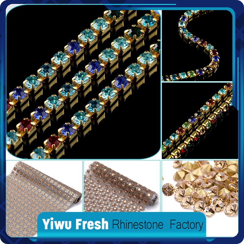 High quality machine cut 8mm rhinestone cup chain rhinestone gold plating cup chain