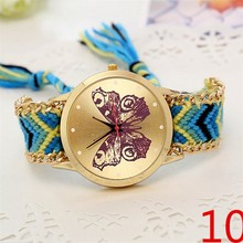 2015 Egypt price weave band watch cute cat dial geneva automatic watch for girls and women