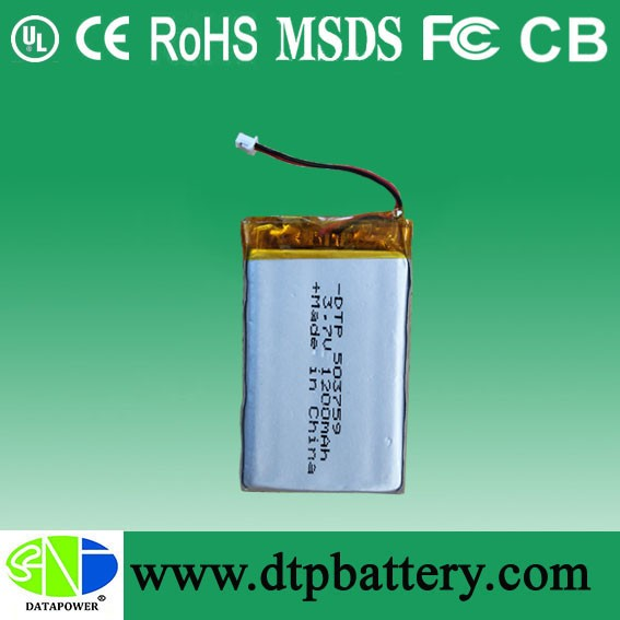li po battery 4.8Wh 503759 3.7v 1300mah with PCM and wire