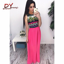 2018 latest fashion women sexy maxi african printed chiffon dresses