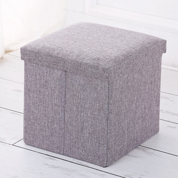 High Quality Colorful Linen Fabric Living Room Storage Ottoman Stool
