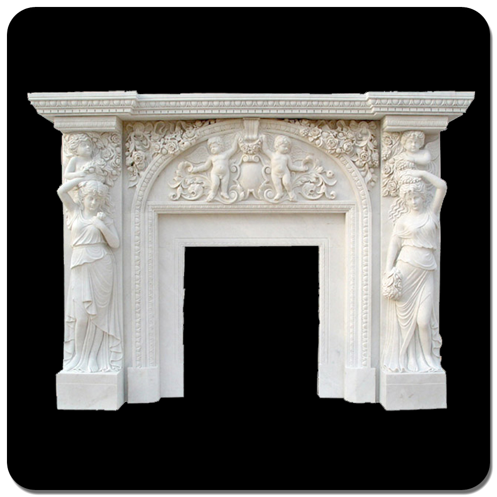 2015 high quality home decor white marble decorative fireplace mantles