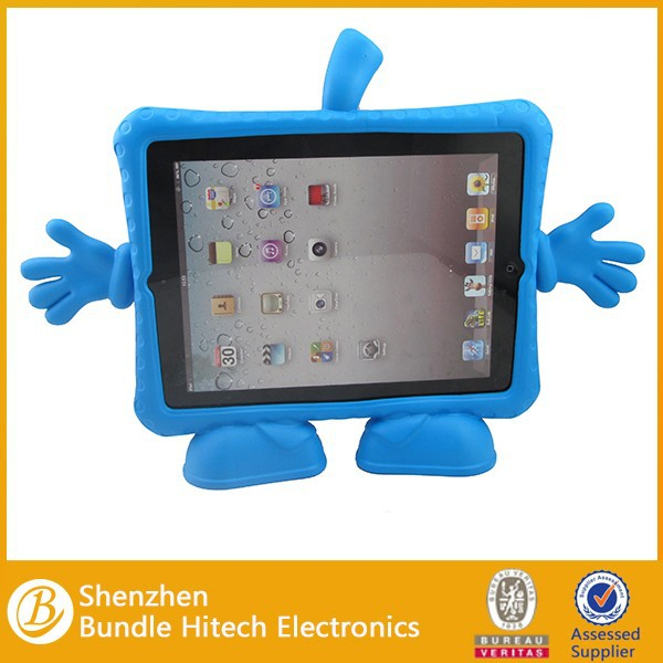 Cute case for ipad 2/3/4 kids style , for apple ipad 4 case, for ipad cute animal shaped silicone case