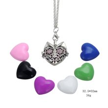 fancy open heart shape locket pandent <strong>necklace</strong> essential oil diffuser <strong>necklace</strong>