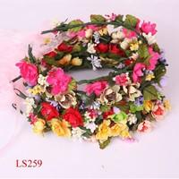 Artificial false silk flower wreath ornaments wedding party garden bridal hair band