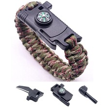 Wholesale fashion paracord bracelet survival with logo, military tactical bracelet for soldier, camping accessory