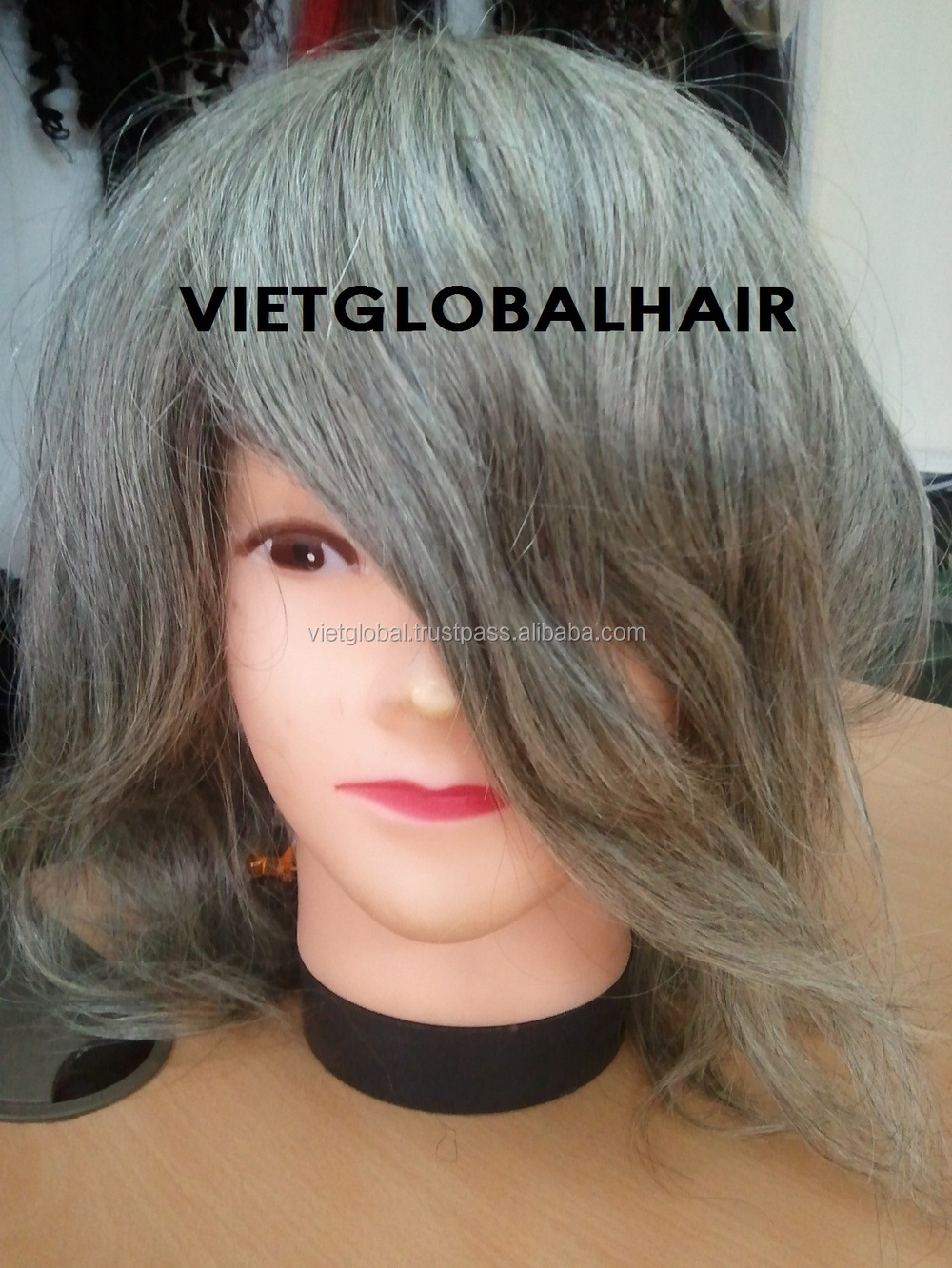 top quality vietnamese grey toupee for men