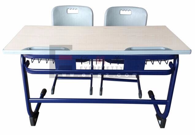 2018 School furniture classroom plastic double desk and chair for student