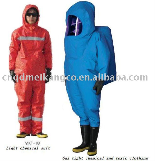 Gas tight chemical proof clothing