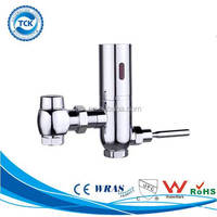 Sensor operated auto cleaning toilet seat foot flush valve