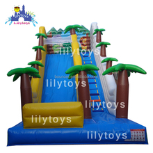 Lily toys 0.55mm plato PVC trapaulin inflatable jumping slide customized coconut tree inflatable dry and slide