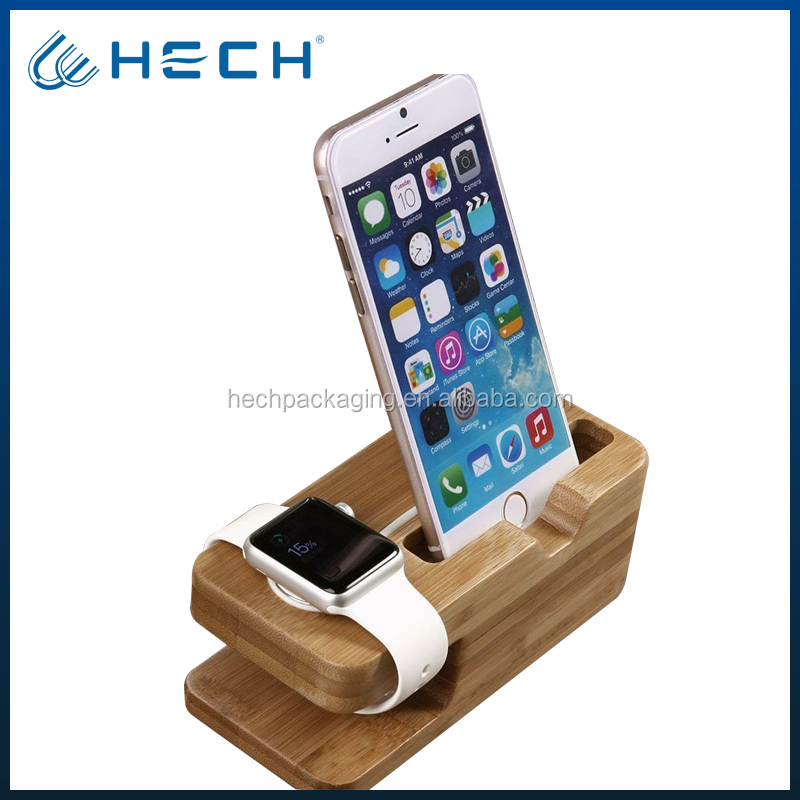 Watch and phone Stand Bamboo Wood Charging Dock Charge Station