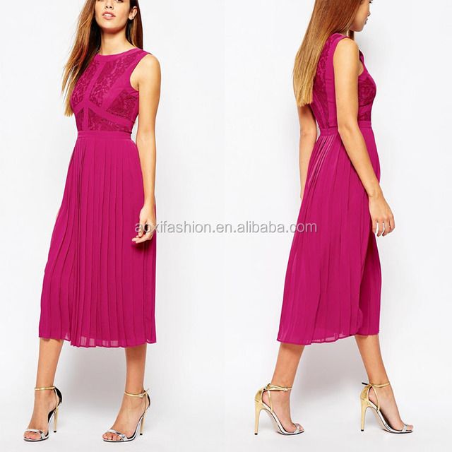 Wholesale Clothing Latest Design Elegant Women Pink Lace Pleated Midi Dress