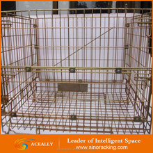 Collapsible storage steel mesh cage steel container warehouse