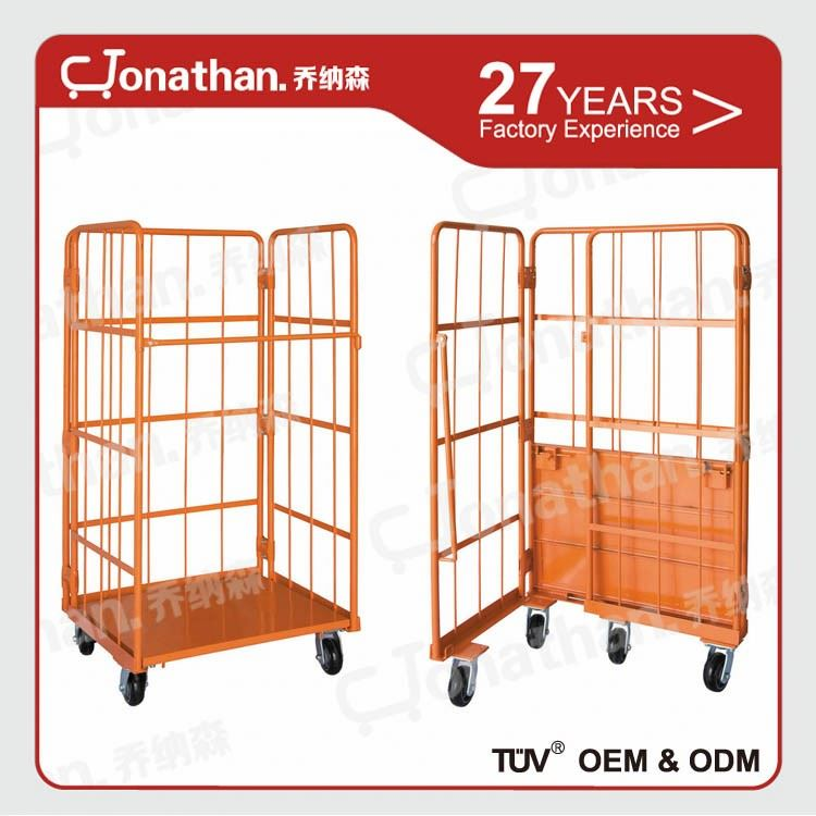 collapsible galvanized warehouse mobile storage cage with wheels