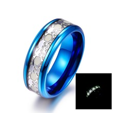 Fashion Skull design channel inlaid blue platingluminous stainless steel ring for party