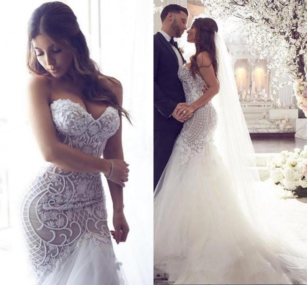Luxury Sexy Beauty Beads Trumpet Wedding Dress Bridal Gown