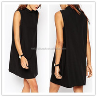 A sleeveless turtleneck dress, summer lady daily dress black dress code(PY0209)