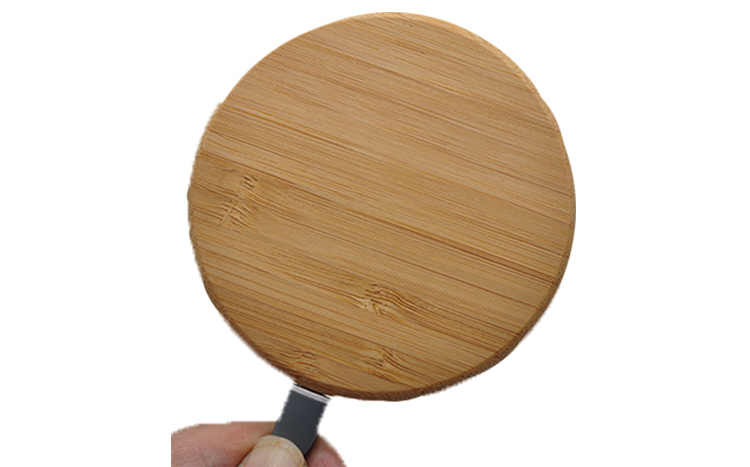 Caferria universal phone fast charging round shape 5w 10w wooden bamboo wireless charger